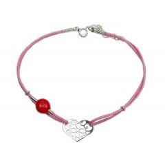 Bransoletka serduszko ażurowe na różowym sznurku