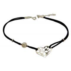 Bransoletka serduszko ażurowe na czarnym sznurku z perełką