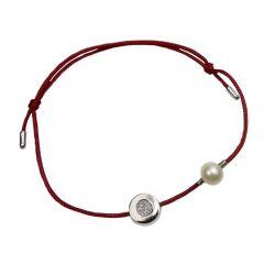 Bransoletka diamond circle z perełką na bordowym sznurku