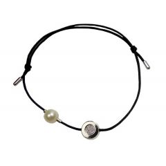 Bransoletka diamond circle z perełką na czarnym sznurku