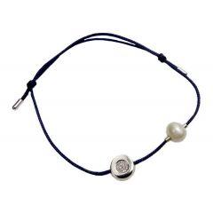 Bransoletka diamond circle z perełką na granatowym sznurku