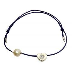 Bransoletka z perełką diamond heart na granatowym sznurku