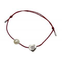 Bransoletka diamond heart z perełką na bordowym sznurku