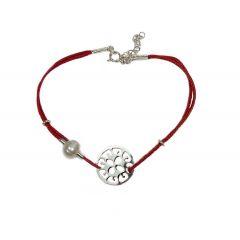 Bransoletka florence na bordowym sznurku z perełką