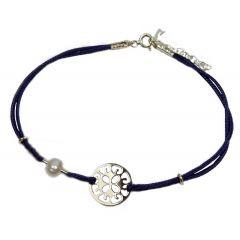 Bransoletka florence na granatowym sznurku z perełką