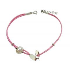 Bransoletka motylek z perełką na różowym sznurku