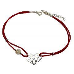 Bransoletka serduszko ażurowe z perełką na bordowym sznurku