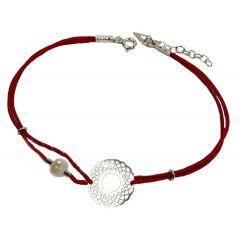 Bransoletka Venice z perełką na bordowym sznurku