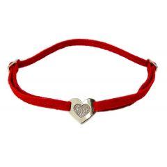 Bransoletka shiny heart na czerwonym sznurku