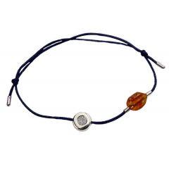 Bransoletka amber diamond circle na granatowym sznurku