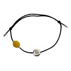 Bransoletka amber diamond circle na czarnym sznurku