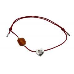 Bransoletka amber diamond heart na bordowym sznurku