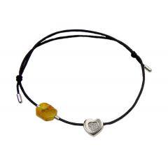 Bransoletka amber diamond heart na czarnym sznurku