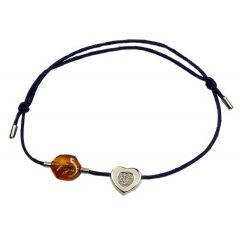 Bransoletka amber diamond heart na granatowym sznurku