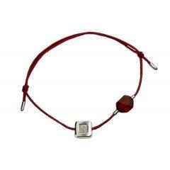Bransoletka amber diamond square na bordowym sznurku