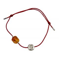Bransoletka amber diamond circle na bordowym sznurku