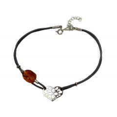 Bransoletka amber heart na grafitowym sznurku