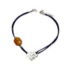 Bransoletka amber heart na granatowym sznurku
