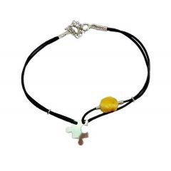 Bransoletka amber puzzel na czarnym sznurku
