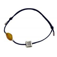 Bransoletka amber diamond square na granatowym sznurku