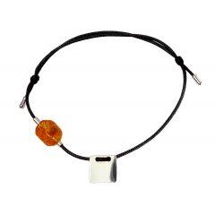 Bransoletka amber square na czarnym sznurku
