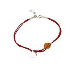 Bransoletka amber clover na bordowym sznurku