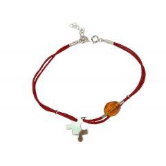 Bransoletka amber puzzel na bordowym sznurku