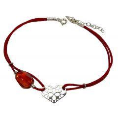 Bransoletka amber heart na bordowym sznurku