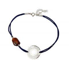 Bransoletka amber venice na granatowym sznurku