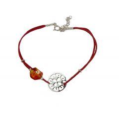 Bransoletka amber florence na bordowym sznurku