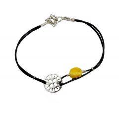 Bransoletka amber florence na czarnym sznurku