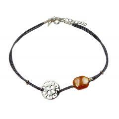 Bransoletka amber florence na grafitowym sznurku