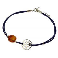 Bransoletka amber florence na granatowym sznurku