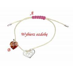 Bransoletka sznurkowa ażurowe serduszko na beżowym sznurku