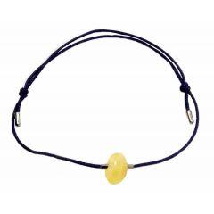 Bransoletka z bursztynem na granatowym sznurku