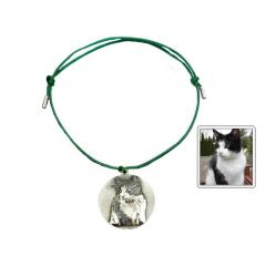 Bransoletka sznurkowa kółko ze zdjęciem zielona
