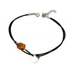 Bransoletka amber smooth heart na czarnym sznurku