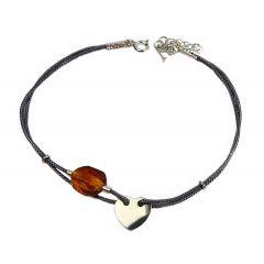 Bransoletka amber smooth heart na grafitowym sznurku