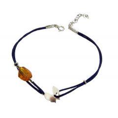 Bransoletka amber butterfly na granatowym sznurku