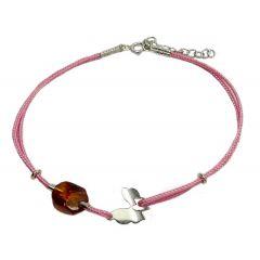 Bransoletka amber butterfly na różowym sznurku