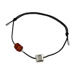 Bransoletka amber diamond square na czarnym sznurku