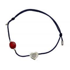 Bransoletka diamond heart na granatowym sznurku