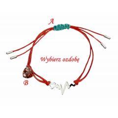 Bransoletka sznurkowa Bicie serca na czerwonym sznurku