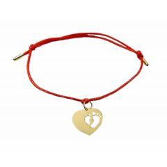 Bransoletka sznurkowa Dziecięce stópki w sercu ze złota pr.333