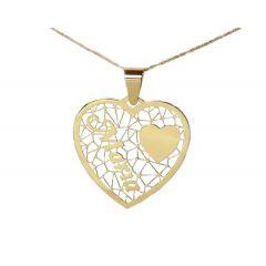 Wisiorek serce z imieniem ze złota pr.585