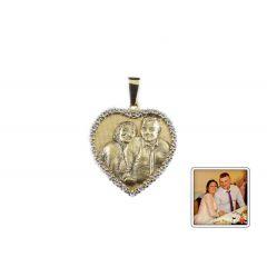 Wisiorek rzeźbione zdjęcie z cyrkoniami złoto pr.333